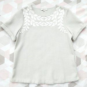Madewell Ivy Leaf Embroidered Tee T-Shirt Top S